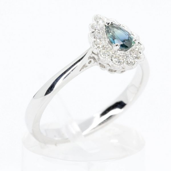 Pear Cut Parti Sapphire Ring with Mil-grain Diamond Halo Set in 18ct White Gold