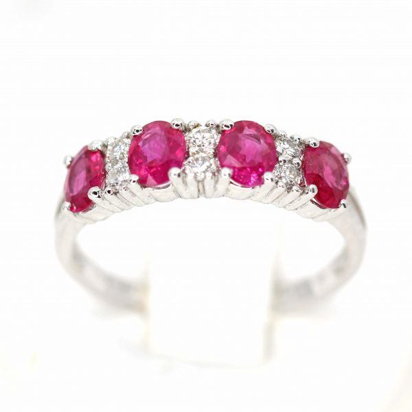 Claw Shape Ruby Ring with Bead of Diamonds Set in 18ct White Gold