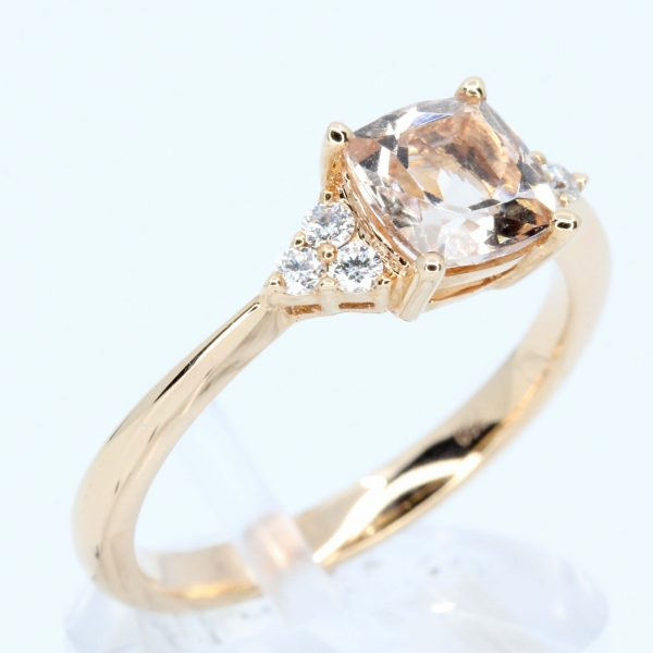 Cushion Shape Morganite Ring with Accents of Diamonds Set in 18ct Rose Gold