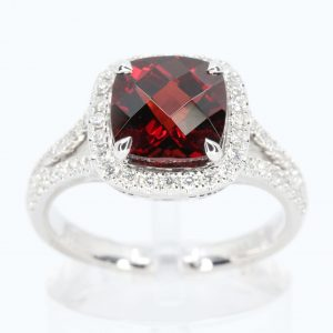Cushion Shape Garnet Ring with Accents of Diamonds Set in 18ct White Gold