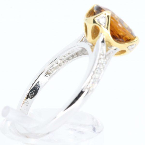 2.34ct Orange Tourmaline Ring set in 18ct White Gold & 18ct Yellow Gold