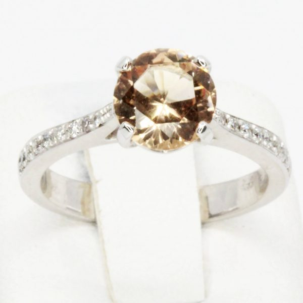 Round Cut Solitaire Imperial Topaz Ring with Accents of Diamonds Set in 18ct White Gold