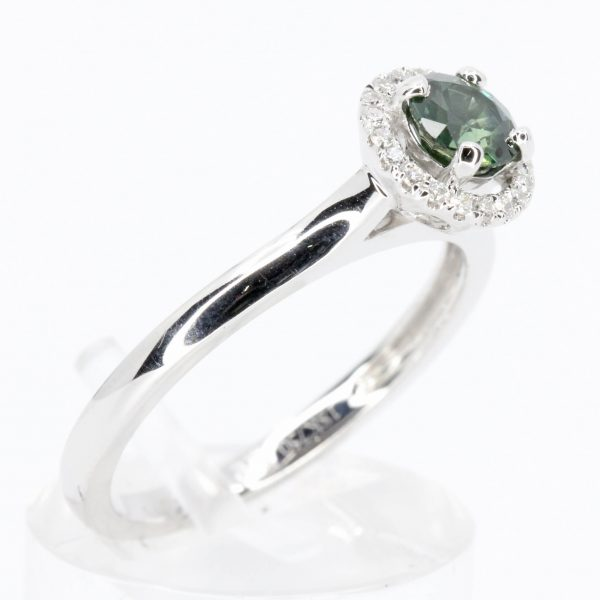 Round Cut Green Sapphire Ring with Halo of Diamonds Set in 18ct White Gold