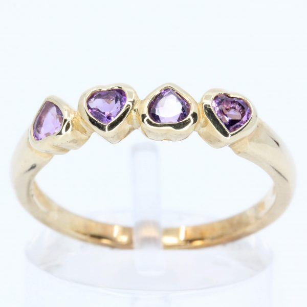 Heart Amethyst Ring with Band of Set in 9ct Yellow Gold