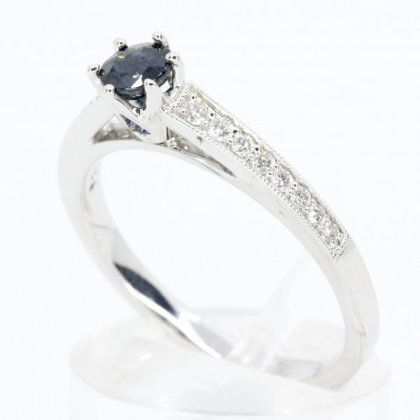 Round Cut Solitaire Australian Sapphire Ring with Accents of Diamonds Set in 18ct White Gold