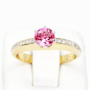 Pink Tourmaline Ring with Shoulder of Diamonds Set in 18ct Yellow Gold