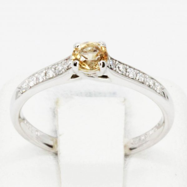 Round Cut Solitaire Gold Topaz Ring with Accents of Diamonds Set in 18ct White Gold