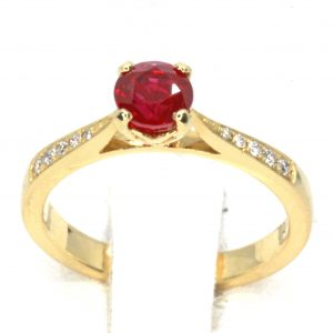 Round Cut Solitaire Top Grade Ruby Ring with Accents of Diamonds Set in 18ct Yellow Gold