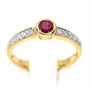 Bezel Set Ruby Ring with Accents of Diamonds Set in 18ct Yellow Gold