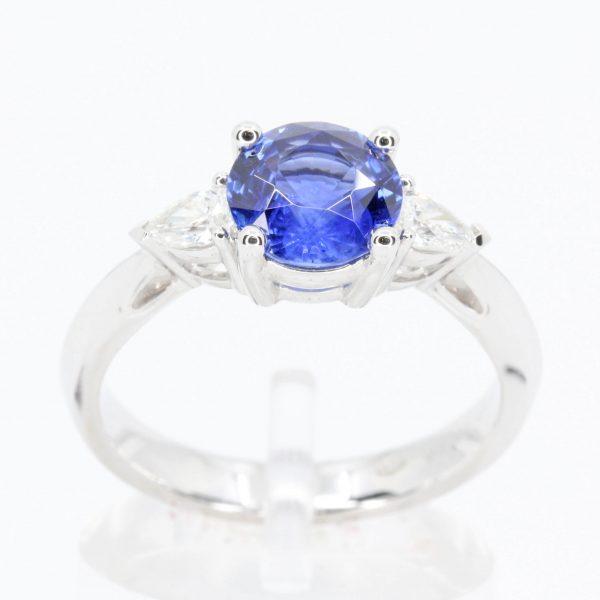 1.67ct Ceylon Sapphire & Diamond Trilogy Ring Set in 18ct White Gold