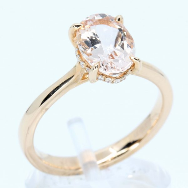 Oval Shape Morganite Ring with Basket of Diamonds Set in 18ct Rose Gold