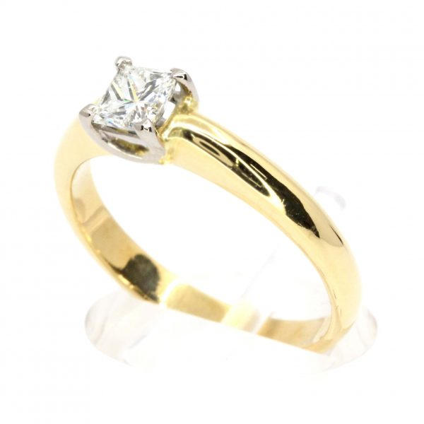 Princess Cut Diamond Ring set in 18ct Two Tone Gold