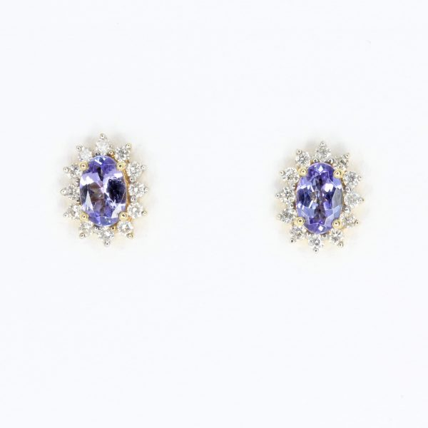 Oval Tanzanite Earrings with Halo of Diamond set in 18ct Yellow Gold