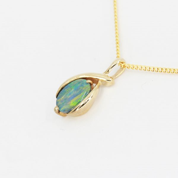 Black Opal Pendant set in 9ct Yellow Gold