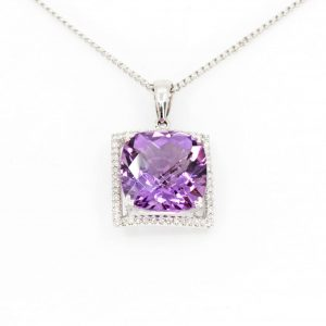Checkered Cushion Amethyst Pendant with Halo of Diamonds set in 18ct White Gold
