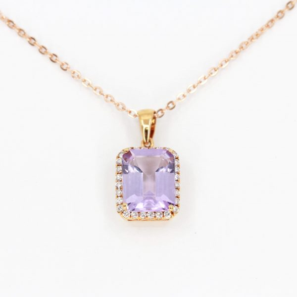 Emerald Cut Amethyst Pendant with Halo of Diamonds set in 18ct Rose Gold