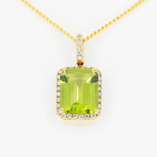 Radient Cut Peridot Pendant with Diamonds set in 18ct Yellow Gold