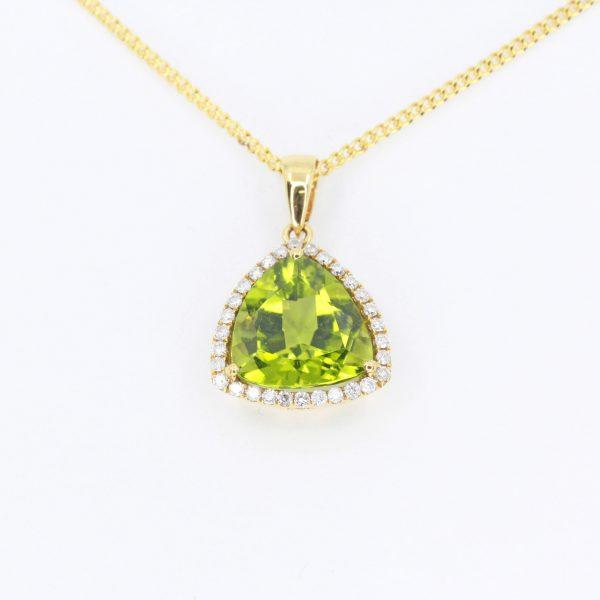Trillion Cut Peridot Pendant with Diamonds set in 18ct Yellow Gold