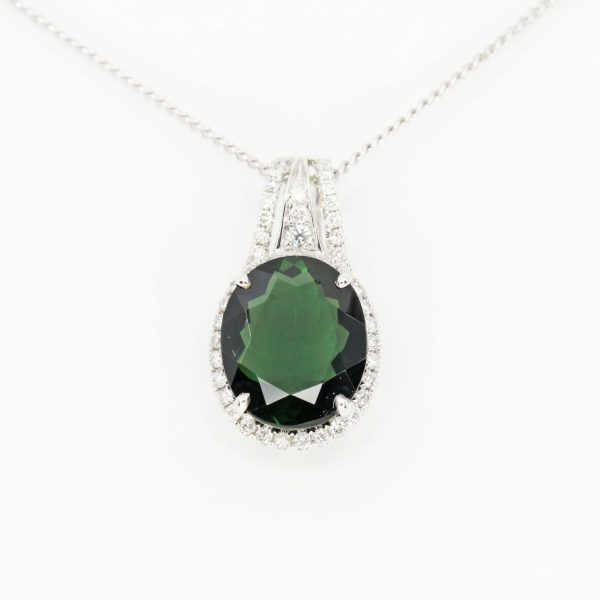 Oval Green Tourmaline Pendant with Halo of Diamonds set in 18ct White Gold