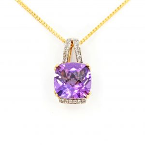 Amethyst Pendant with Diamonds set in 18ct Yellow Gold