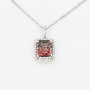 Emerald Cut Tourmaline Pendant with Halo of Diamonds set in 18ct White Gold