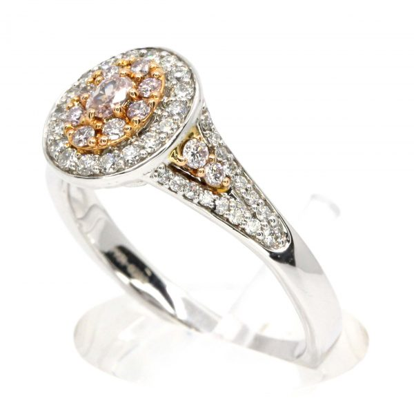 Claw Set Faint Pink Diamonds Ring with Halo of Diamonds set in 18ct White Gold