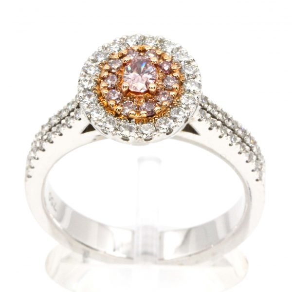 Claw Set Pink Diamonds with Halo of Diamonds set in 18ct White Gold