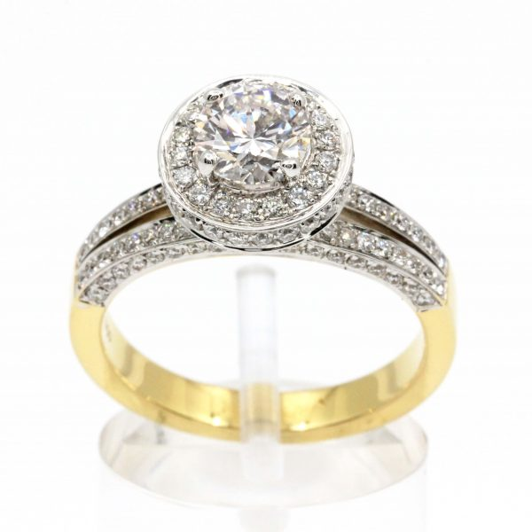 Faint Pink Diamond Ring with Diamond Halo & Accents set in 18ct Yellow Gold