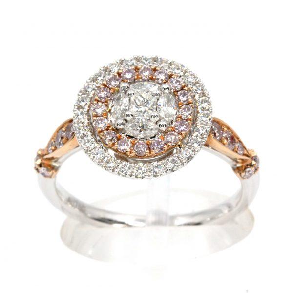 White & Pink Diamond Ring White/Rose Gold