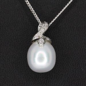 White South Sea Pearl Pendant with Diamonds set in 18ct White Gold