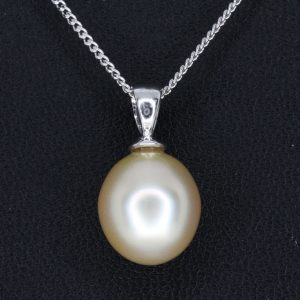 TEST - Golden South Sea Pearl Pendant set in 18ct White Gold