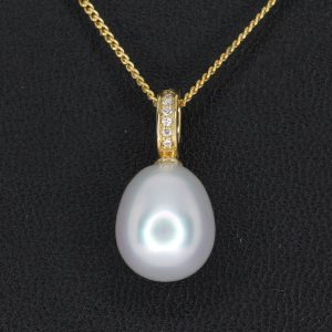 White South Sea Pearl Pendant with Diamonds set in 18ct Yellow Gold