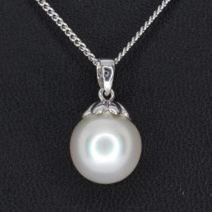White South Sea Pearl Pendant White Gold