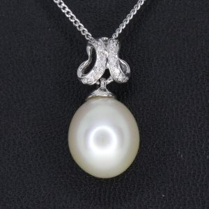 Golden South Sea Pearl Pendant with Diamonds set in 18ct White Gold