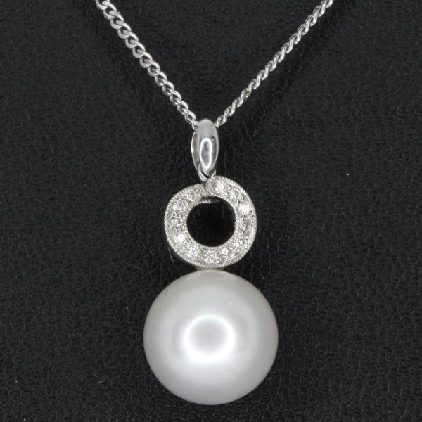 White South Sea Pearl Pendant with Diamonds set in 18ct White Gold