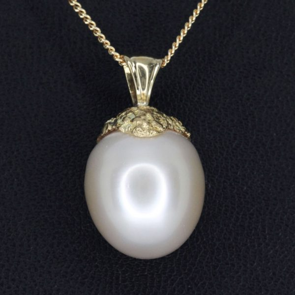 Pale Gold South Sea Pearl Pendant set in 18ct Yellow Gold