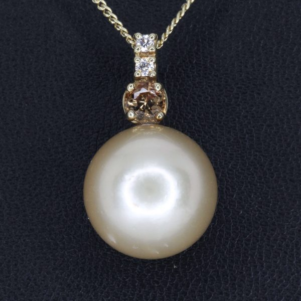 Golden South Sea Pearl Pendant Yellow Gold Necklace