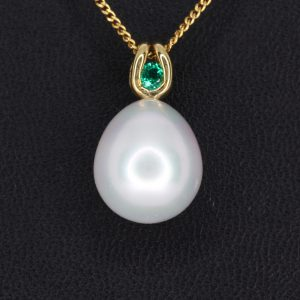 White South Sea Pearl Pendant with a Citrine Accent Yellow Gold