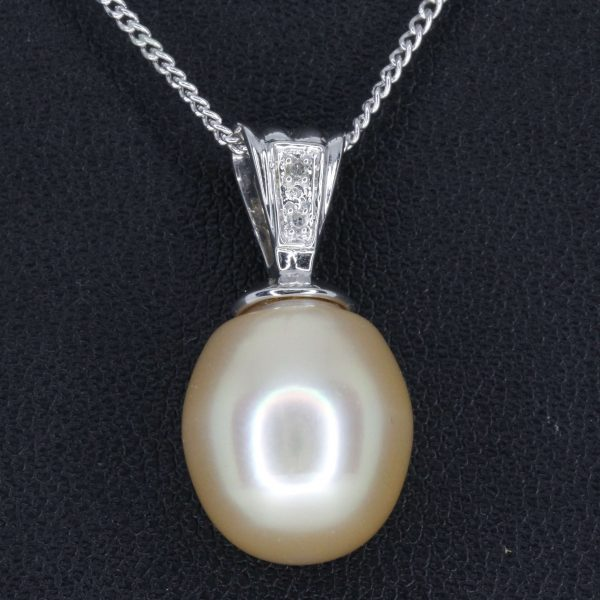 Pale Gold South Sea Pearl Pendant with Diamonds White Gold