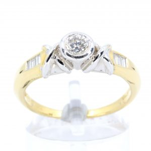 Brilliant Cut Diamond Ring Two Tone