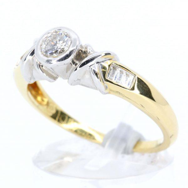 Brilliant Cut Diamond Ring Two Tone
