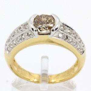 Champagne Diamond Ring with Diamonds set in 18ct Yellow Gold