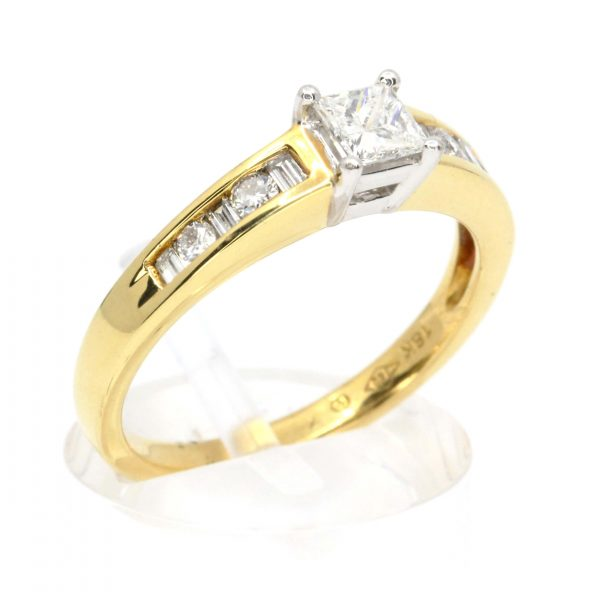Princess Cut Diamond Ring with Channel Set Diamonds Accents set in 18ct Two Tone Gold
