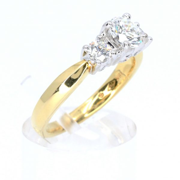 Round Brilliant Cut Diamond Ring with Diamond Accents set in 18ct Two Tone Gold