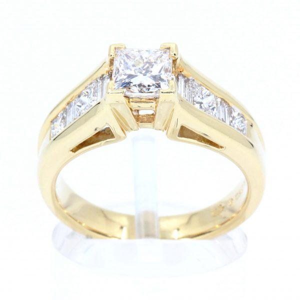 Princess Cut Diamond Ring with Channel Set Diamonds Accents set in 18ct Yellow Gold
