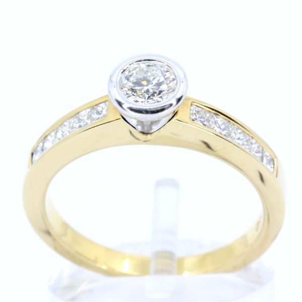 Round Brilliant Cut Diamond Ring with Channel Set Diamonds Accents set in 18ct Two Tone Gold