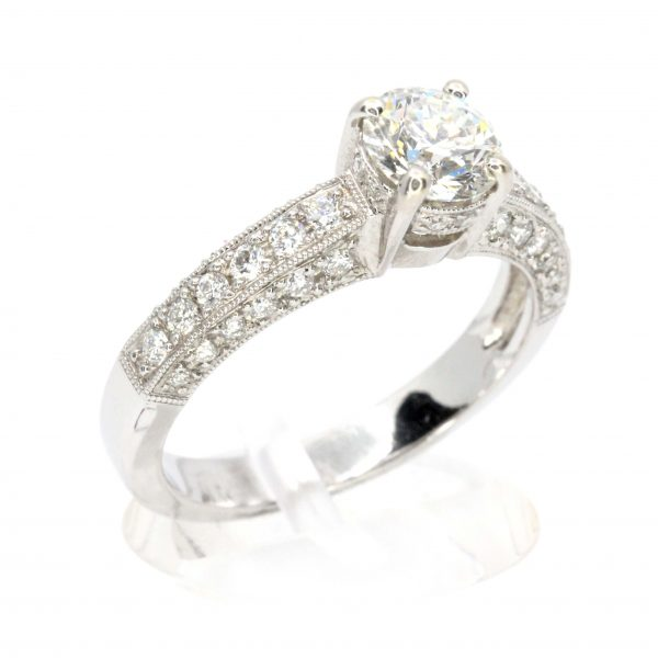 Round Brilliant Cut Diamond Ring with Bead Set Diamonds Accents set in 18ct White Gold