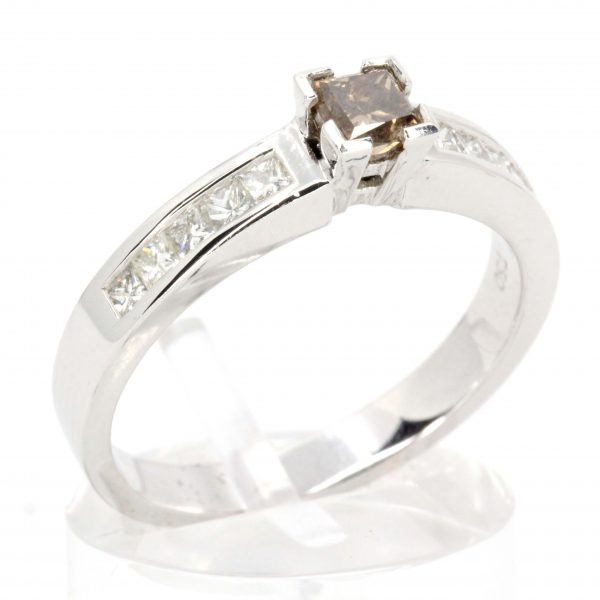 Champagne Diamond Ring with Diamonds set in 18ct White Gold