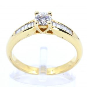 Round Brilliant Cut Diamond Ring with Channel Set Diamonds Accents set in 18ct Yellow Gold