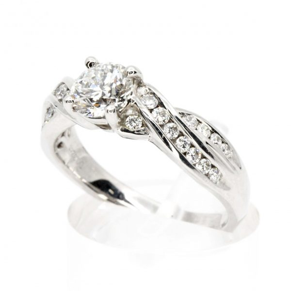 Round Brilliant Cut Diamond Ring with Channel Set Diamonds Accents set in 18ct White Gold